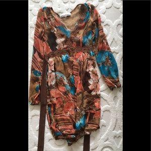 Patterned Costa Blanca small chiffon dress brown S